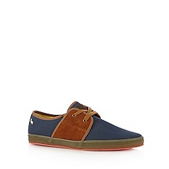 Fish 'N' Chips - Navy canvas two eyelet plimsolls