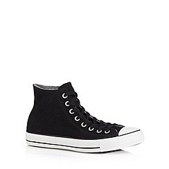 Converse - Black suede fleece lined 'All Star' hi-top trainers