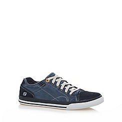 Skechers - Big and tall navy 'diamondback levon' leather trainers