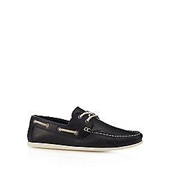 Red Herring - Navy leather lace up boat shoes