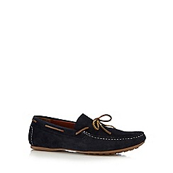 Red Herring - Navy leather bow detail loafers
