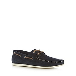 Red Herring - Navy suede apron front boat shoes