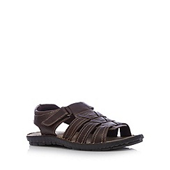 Mantaray - Chocolate leather rip tape sandals