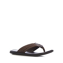 Mantaray - Chocolate weave toe post sandals