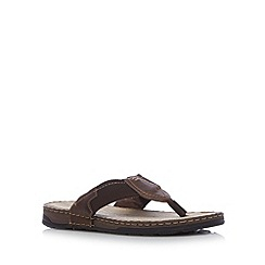 Mantaray - Chocolate leather webbed toe flip flops
