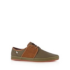 Fish 'N' Chips - Khaki canvas two eyelet plimsolls