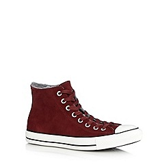 Converse - Maroon 'Chuck Taylor' hi-top faux fur lined trainers