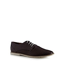Red Herring - Wine leather woven lace up shoes