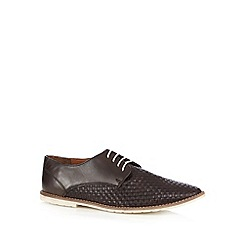 Red Herring - Brown woven leather lace up shoes