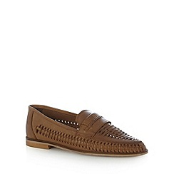 Red Herring - Tan leather weave loafer shoes