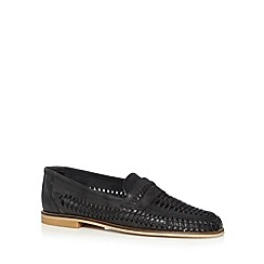 Red Herring - Black leather weave loafers