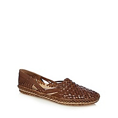 Red Herring - Tan leather weave slip on shoes