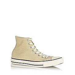 Converse - Cream 'All Star' washed canvas hi-top trainers