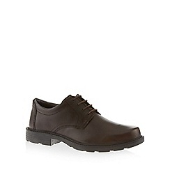 Clarks - Big and tall brown 'lair watch' leather shoes