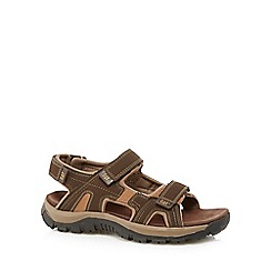 Caterpillar - Dark brown leather rip tape sandals