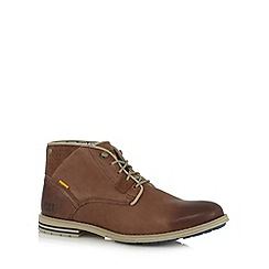 Caterpillar - Tan leather punched panel chukka boots