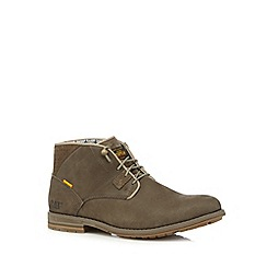 Caterpillar - Taupe suede perforated lace up boots