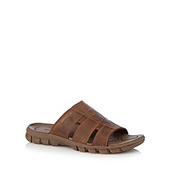 Caterpillar - Tan leather cutout sandals