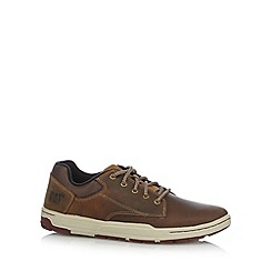 Caterpillar - Tan leather mix lace up trainers