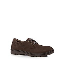 Caterpillar - Dark tan leather lace up logo shoes