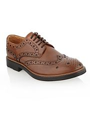 Designer tan conifer chunky brogue shoes