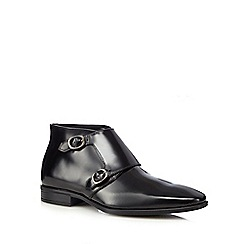 J by Jasper Conran - Black leather monk strap Chukka boots