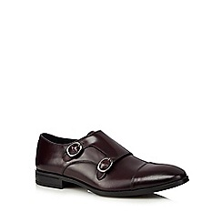J by Jasper Conran - Dark red leather monk strap Derby shoes