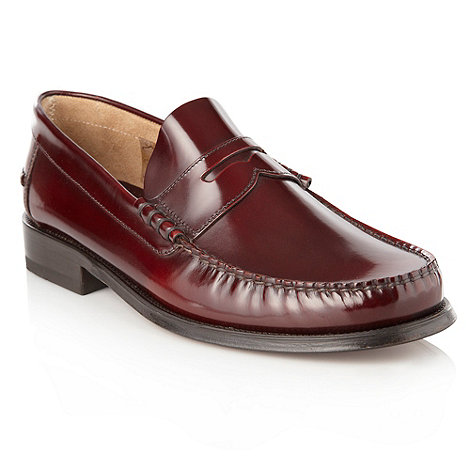 Loake - Wine leather penny loafers