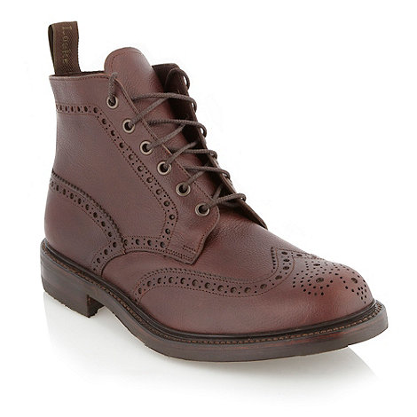 Loake - Wide fit brown leather brogue boots