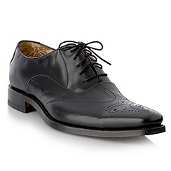 Loake - Big and tall wide fit black punched detail smart shoes