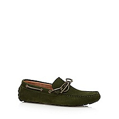 Jeff Banks - Designer dark green suede loafers