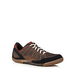 Merrell - Dark tan leather blend trainers