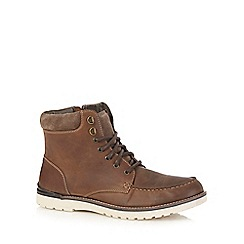 Mantaray - Dark brown leather lace up boots