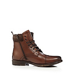 Red Herring - Tan leather zip lace up boots