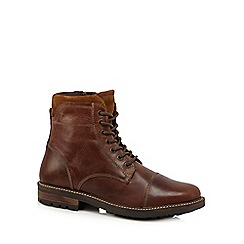 Mantaray - Tan leather lace up boots