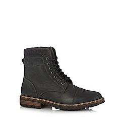 Mantaray - Black leather lace up boots