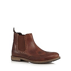 Mantaray - Tan leather chelsea brogue boots