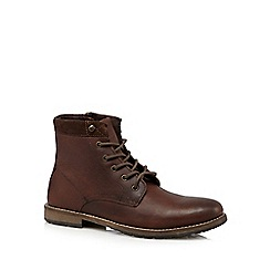 Red Herring - Dark brown leather lace up boots