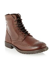 Tan Columbus brogue ankle boots