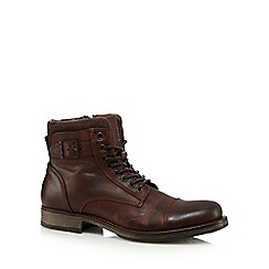 Jack & Jones - Brown leather toe cap boots