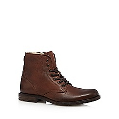 RJR.John Rocha - Designer brown leather borg fleece lined boots