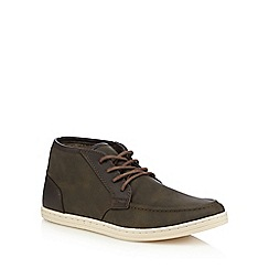 Red Herring - Dark brown panelled lace up boots
