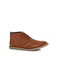 Red Herring - Tan PU brogue boots