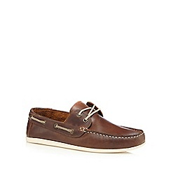 Red Herring - Brown leather boat shoes