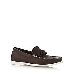 Red Herring - Dark brown leather tassel loafers