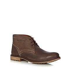 Hush Puppies - Dark brown 'Benson Rigby' leather Chukka boots