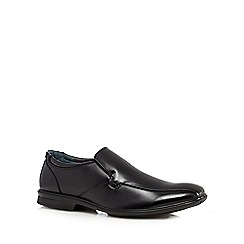 Hush Puppies - Black leather extra wide slip-ons