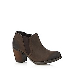 Hush Puppies - Dark brown 'Moorland' leather high Chelsea boots