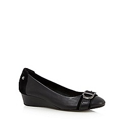 Hush Puppies - Black leather mid wedge heeled shoes