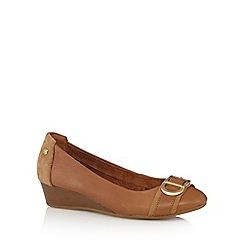 Hush Puppies - Tan leather mid wedge heeled shoes